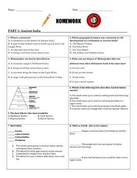 Ancient India Homework Worksheet