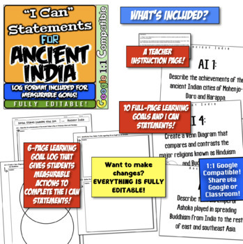 """Ancient India """"I Can"""" Statements & Learning Goals! Log & Measure India Goals!"""