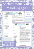 Ancient India Indus River Valley Activity Matching with Answer Key