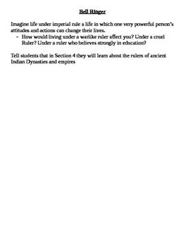 Ancient India (Indus River Valley) Worksheet- Mauryan and Gupta Risa and fall