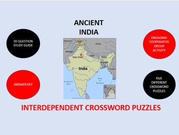Ancient India: Interdependent Crossword Puzzles Activity