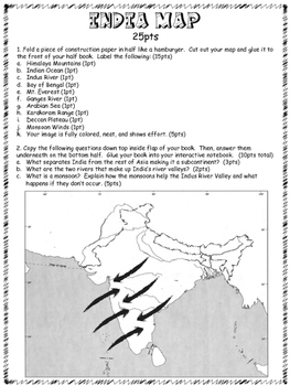 Ancient India Map Foldable   Interactive Notebook Activity | TpT