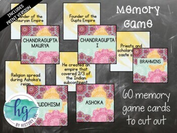 Ancient India Memory Game and Flashcards {Harappa, Maurya, Gupta}