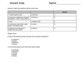 Ancient India Multiple Choice Quiz