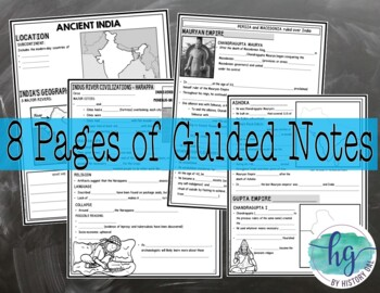 Ancient India PowerPoint and Guided Notes {Harappa, Maurya, Gupta}