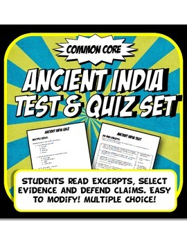 Ancient India Quiz and Test Common Core Writing and Literacy