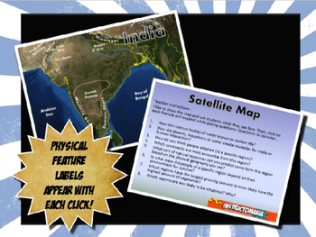 Ancient India Satellite Map Physical Geography PowerPoint Introduction