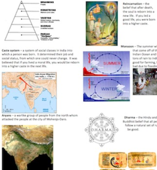 Ancient India Vocabulary Comprehension Questions