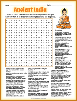 ancient india word search puzzle by puzzles to print tpt. Black Bedroom Furniture Sets. Home Design Ideas