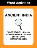 Ancient India - Word Search, Word Scramble,  Secret Code,
