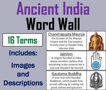 Ancient India Vocabulary Word Wall Cards