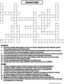 Ancient India Worksheet/ Crossword Puzzle