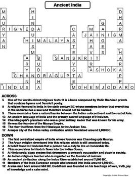 Ancient India Worksheet/ Crossword Puzzle by Science Spot ...