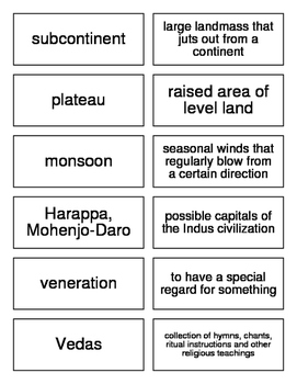 Ancient India and China Flash Cards for World History
