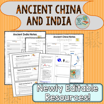 Ancient India and China PowerPoint, Cloze Notes, and Writing Foldable