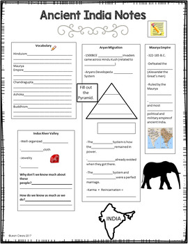 Ancient India and China PowerPoint, Cloze Notes, and Activity