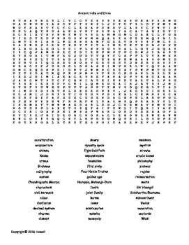 Ancient India and China Vocabulary Word Search for World History