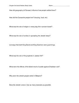 Ancient Israelites Social Studies Study Guide