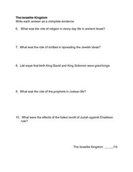 Ancient Israelites Social Studies Test