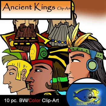 Ancient Kings  10 pc. Clip-Art ( BW and Color!)