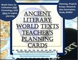Ancient Literary World Texts Cards for Studying, Planning, Teaching and MORE!