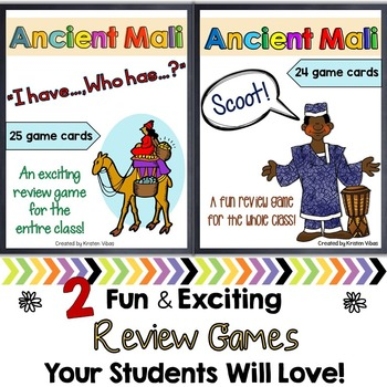 """Ancient Mali Review Games:""""I Have, Who Has?"""" AND """"Scoot!"""""""