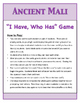 """Ancient Mali """"I Have, Who Has"""" Game"""