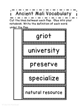 Ancient Mali Interactive Notebook