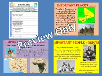 Ancient Mali Pre and Post-Assessment and Powerpoint Presentation