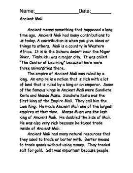 Ancient Mali Reading Comprehension