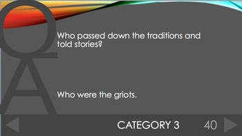 Ancient Mali Review Trivia PowerPoint Game