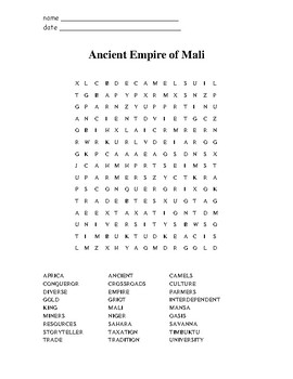 Ancient Mali Wordfind Puzzle