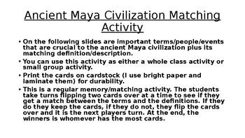 Ancient Maya Civilization Matching Activity