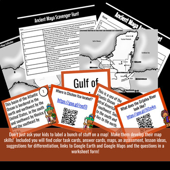 Ancient Maya Geography Scavenger Hunt and Task Cards
