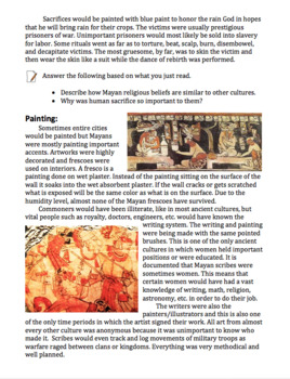 Ancient Mayan Art Lesson Papers