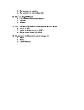 Ancient Mayans Video Worksheet