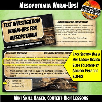 Ancient Mesopotamia Warm-Ups Skill Based, Content Mini Lessons & Bell Ringers