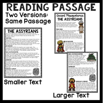 Ancient Mesopotamia Assyrians Reading Comprehension Worksheet