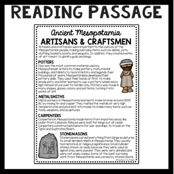 Ancient Mesopotamia Artisans and Craftsmen Reading Comprehension Worksheet