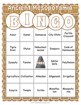 Ancient Mesopotamia Bingo Game