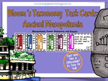 Ancient Mesopotamia Bloom's Taxonomy Cards - Sumer, Babylonia, & Assyria