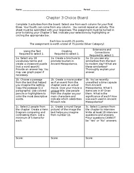 Ancient Mesopotamia Choice Board (9 options)
