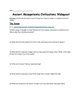Ancient Mesopotamia Civilizations Webquest