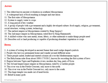 Ancient Mesopotamia Crossword Puzzle Activity Worksheet