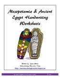 Ancient Mesopotamia & Egypt Handwriting Worksheets