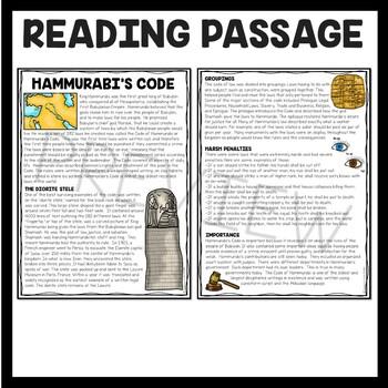 Ancient Mesopotamia Hammurabi's Code Reading Comprehension Worksheet