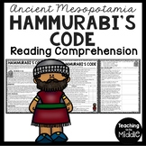 Ancient Mesopotamia Hammurabi's Code Reading Comprehension Worksheet