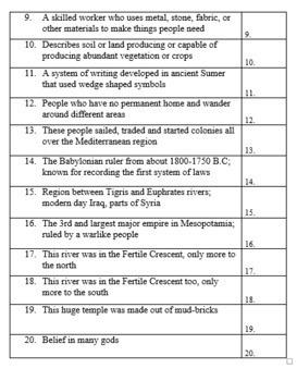 Ancient Mesopotamia History Vocabulary Quiz and Word List