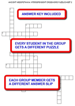 Ancient Mesopotamia:  Interdependent Crossword Puzzles Activity