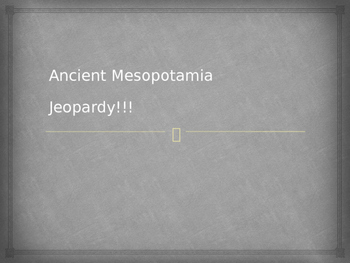 Ancient Mesopotamia Jeopardy